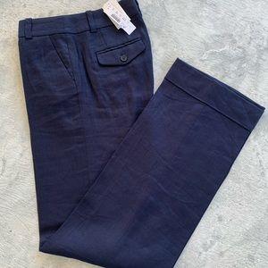 Linen J.Crew navy blue wide leg trousers